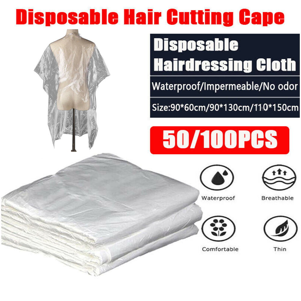 50/100 Pcs Disposable Hairdressing Capes PE Waterproof Apron Cutting Perm Dye Hair Cape Barber Transparent Hairdressing Cloth