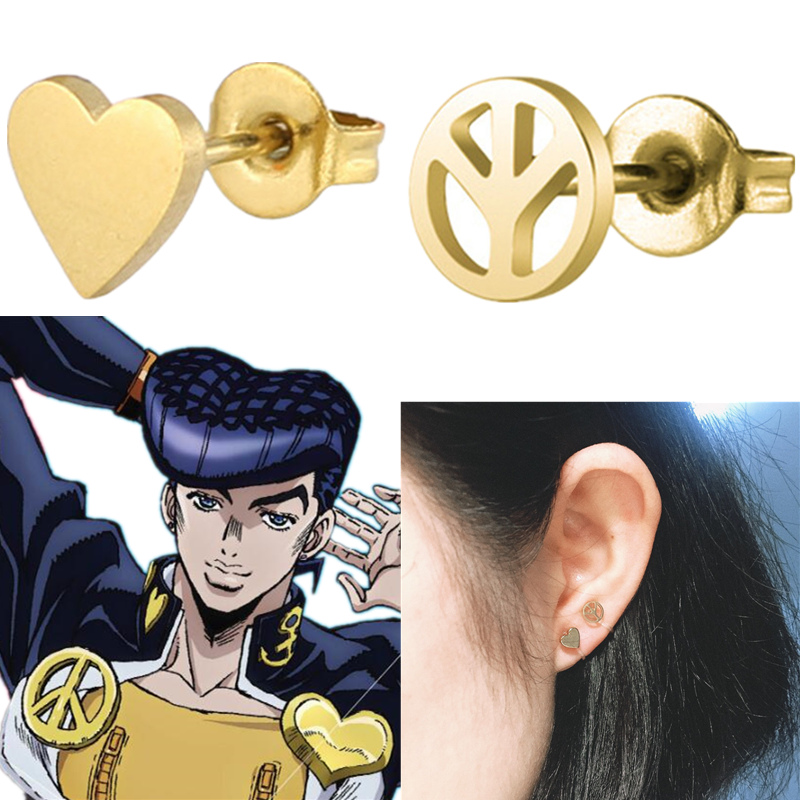 JoJo's Bizarre Adventure Higashikata Josuke Cosplay Earring Props Ear Stud Clip Jewelry