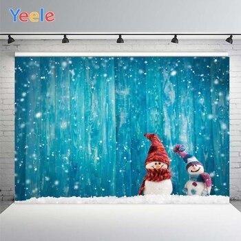 Yeele Christmas Light Bokeh Wood Backgrounds For Photography Winter Snowman Gift Baby Newborn Portrait Photo Backdrop Photocall