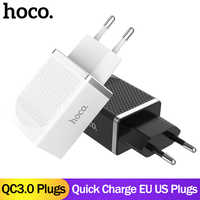 Chargeur mural universel USB HOCO QC3.0 18W prise ue US chargeur rapide Portable pour iPhone XS Samsung Huawei Charge