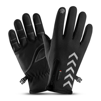 Winter Men Gloves Anti-slip for Cycling Skiing Windproof Fluff Warm Night Reflective Strip Touchscreen Waterproof image