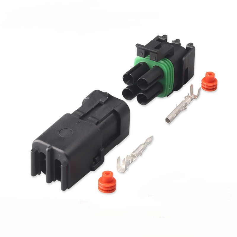 50-100 set 4P 2x2 hole 2.5mm Connector For Weatherpack auto Truck Waterproof Electrical Wire Cable Way Plug Car Harness 18-14 GA