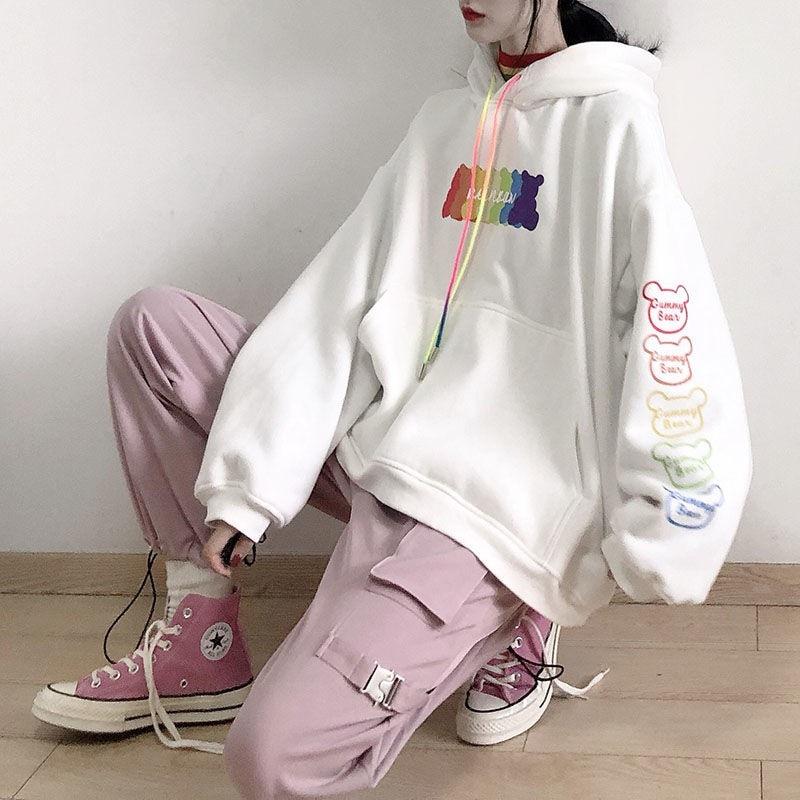 2020 Spring Autumn White Hooded Sweatshirt Women Korean Loose Plus Velvet Thickened Student  Jacket Japanese Bear Printing Tops