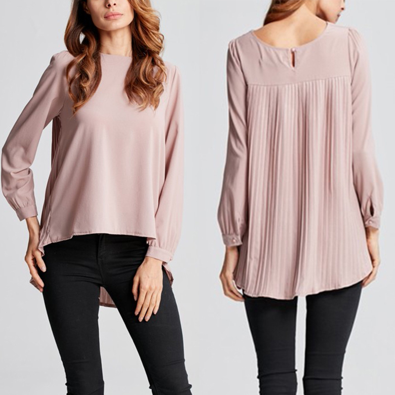 Fashion Asymmetrical Blouse 2020 ZANZEA Women's Pleated Tops Casual OL Work Blusas Female Long Sleeve Summer Shirts Plus Size