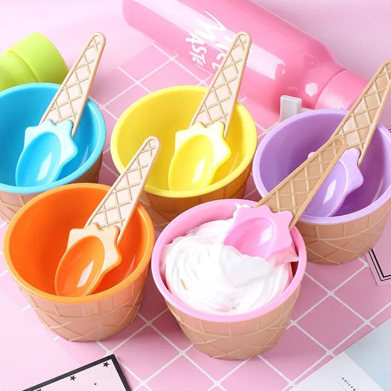 1PC Baby Ice Cream Spoons Bowls Kids Ice Cream Cup Couples Bowl Gifts Dessert Ice Cream Bowl One Spoon Children Tableware