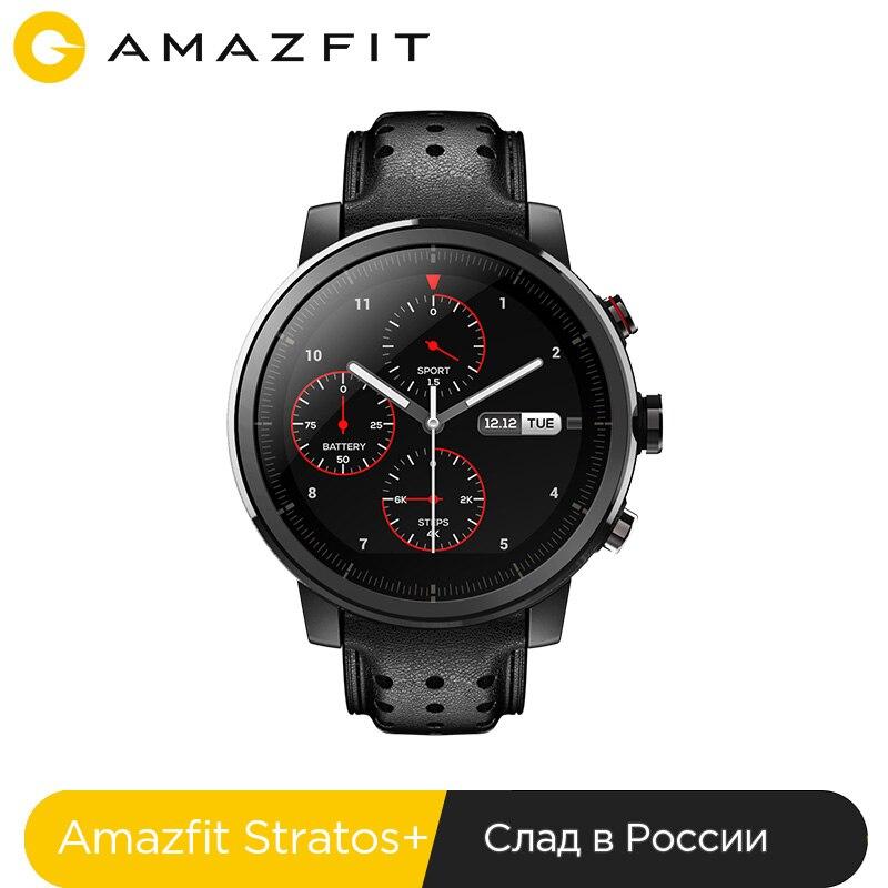 Склад в России nuevo Amazfit Stratos + insignia reloj inteligente Genuie correa de cuero de la caja de regalo de cristal de zafiro Flourorubber Correa