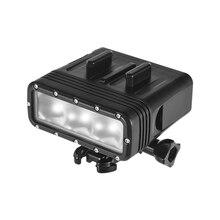 Светильник для экшн-камеры, водонепроницаемый светодиодный видео светильник с регулируемой яркостью, подводная лампа 40 м для дайвинга с аккумулятором 900 мАч для Gopro 7