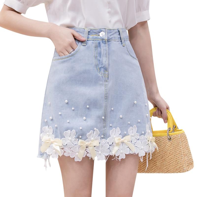 Zoki Fashion Lace Flower Denim Skirt Summer Pearl High Waist Ladies Jean Mini Skirt Causal Korean Slim Girls Short Faldas 2020