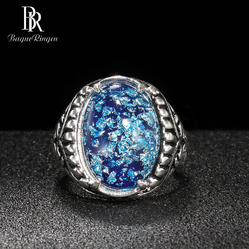 Bague Ringen Oval Shaped Pink Purple Blue Opal Silver 925 Jewelry Gemstones Ring For Women Vingate Accessory Female Gift Party
