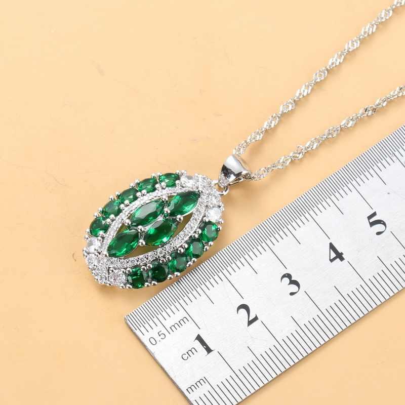 11.11 สินค้าใหม่ 925 เงินสเตอร์ลิง 6-สีขนาดใหญ่ชุดเครื่องประดับสำหรับสตรีหินธรรมชาติ CZ สีเขียวอินเทรนด์อุปกรณ์จัดงานแต่งงาน