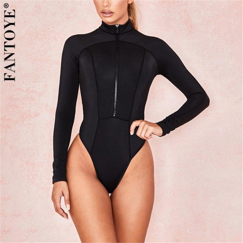 Fantoye 2019 New Patchwork Skinny Bodysuit Women Black Basic Bodycon Tops Jumpsuit For Women Casual Elastic Bodysuit Clubwear