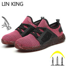 LIN KING Breathable Mesh Women And Men Steel Toe Safety Boots Puncture-Proof Work Sneakers Comfy Couples Outdoor Casual Shoes дутики king boots king boots mp002xw0zwfn