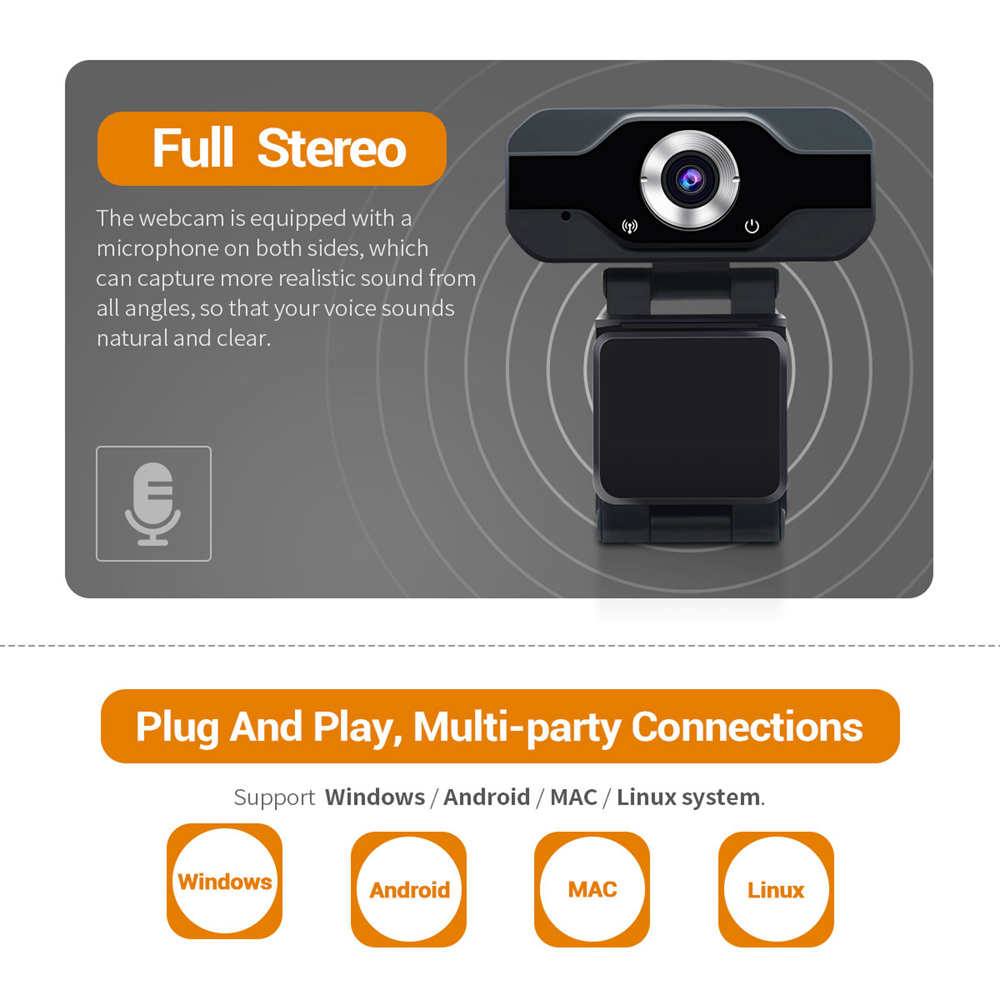 PVR006 HD USB Webcam Adjust Smart 1080P Web Camera With Noise Stream Live Camera Clip For Desktop Laptops PC Game Cam For OS New