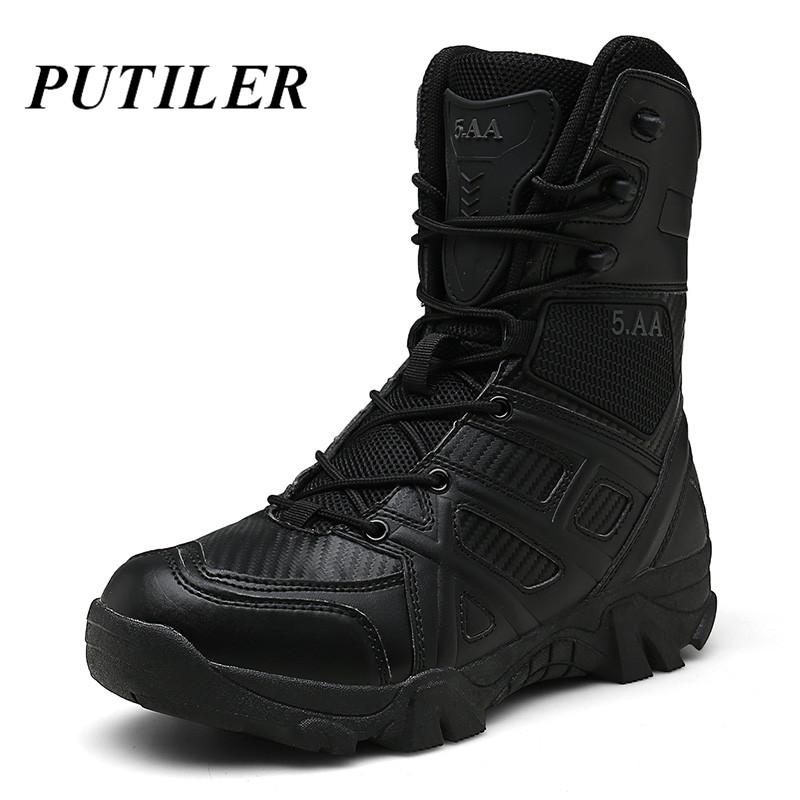 Winter Military Tactical Boots For Men Leather Outdoors Round Toe Sneakers Men Combat Desert High Ankle Boots Black Casual Shoes|Basic Boots| - AliExpress