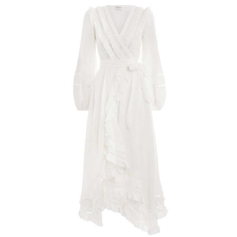 2019 сексуальные макси Вечерние белые осенние кружевные пляжные Vestido повседневные цветочные платья элегантные женские платья с длинным рукавом