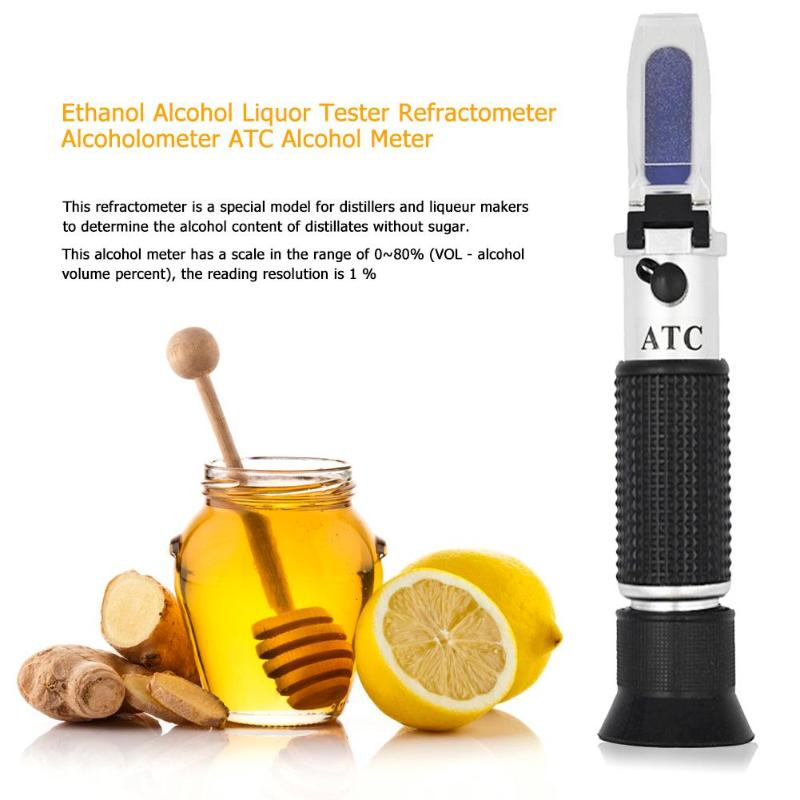 Ethanol Alcohol Refractometer Alcoholometer Spirit Tester 0~80%V/V ATC Tool Concentration Spirits Meter Alcohol Refractometer