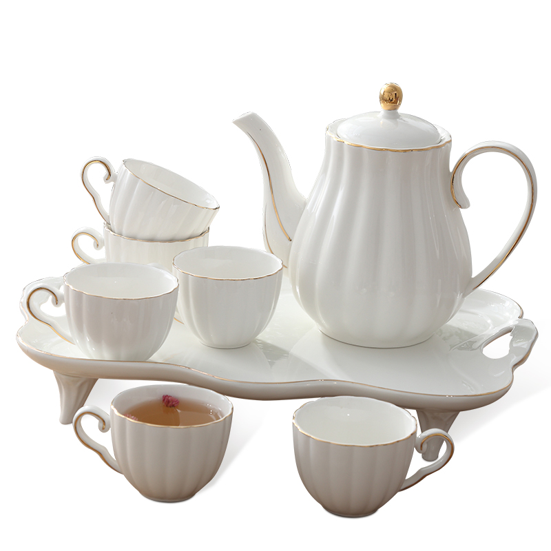 Simple European Ceramic Cup Creative Household Coffee Cup Sets Dish Afternoon Flower Cup Set with Rack Cafe Household Tea Mug|Coffeeware Sets| |  - title=