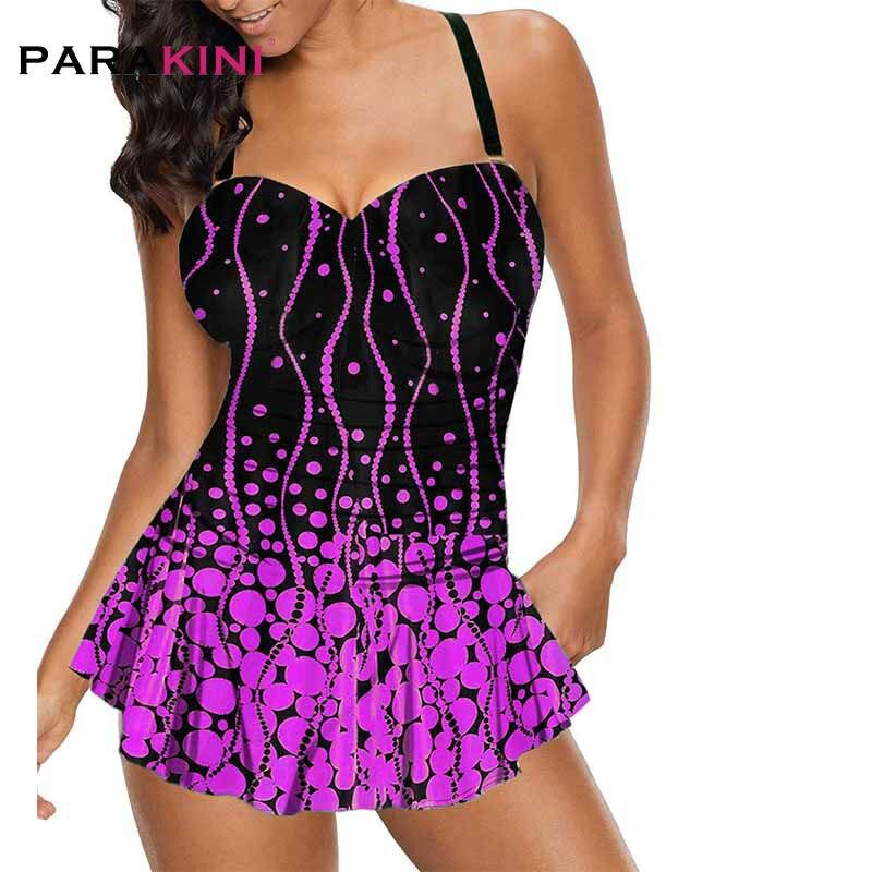 PARAKINI Women's Plus Size Halter Polka Dot Print Spaghetti Strap Swimdress Swimsuit Push Up Tankini With Party Dress Swimwear