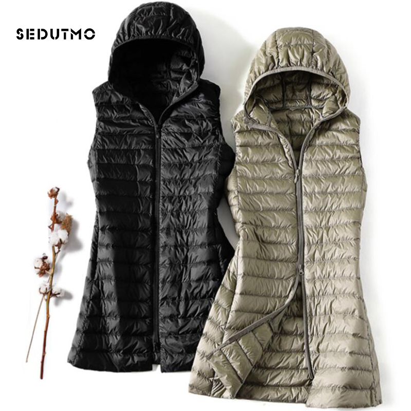 SEDUTMO Winter Plus Size 3XL Womens Down Jackets Ultra Light Long Hooded Vest Casual Waistcoat Autumn Coat Slim Parkas ED913