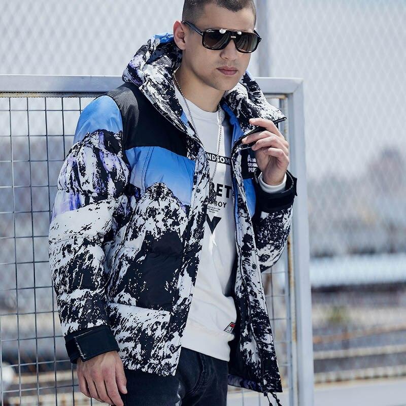 PAULKONTE Autumn Winter Snow Mountain Landscape Print Men's Coat High Quality Fashion Down Jacket For Men Cotton Clothing