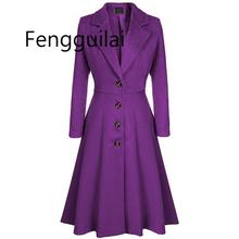 Winter Wool Warm Casual Office Ladies Plus Size Women Long Trench Coats Slim Lap