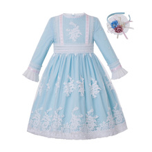 최신 Pettigirl 여자를위한 도매 라이트 블루 자수 복장 소녀 복장 연령 3 ~ 12 년 어린이 의류 G DMGD211 A468