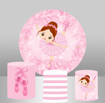 Round circle panel backdrop pink girl Ballet themed birthday party decor dessert table elastic fabric 3 cylinder plinths cover - discount item  28% OFF Camera & Photo