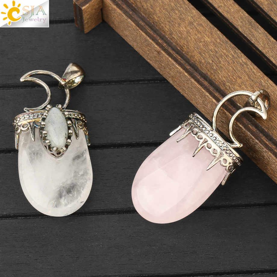 CSJA pierre naturelle cristal pendentifs collier Vintage violet rose Quartz Lapis Antique argent-couleur couronne lune breloque bijoux G274