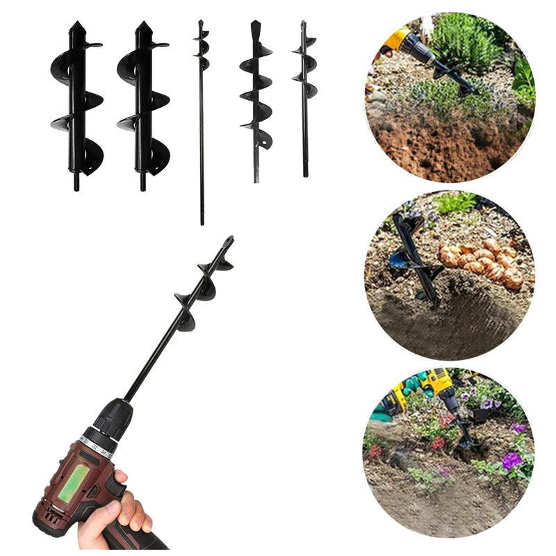 Garden Planter Spiral Drill Bit Flower Bulb Hex Shaft Auger Yard Gardening Bedding Planting Post Hole Digger Tools