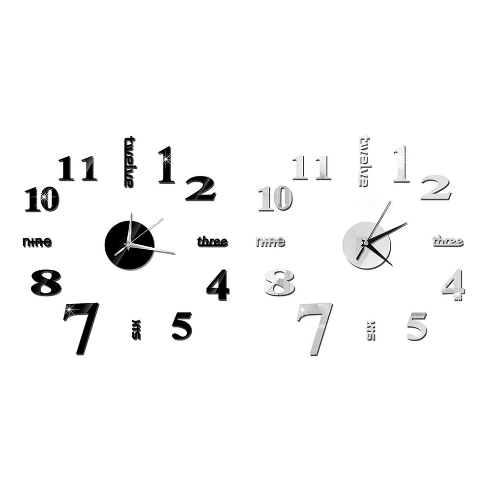 Large DIY Wall Clock Acrylic Modern 3D Wall Clock With Numbers Mirror Stickers For Home Living Room Office Decorations 20E