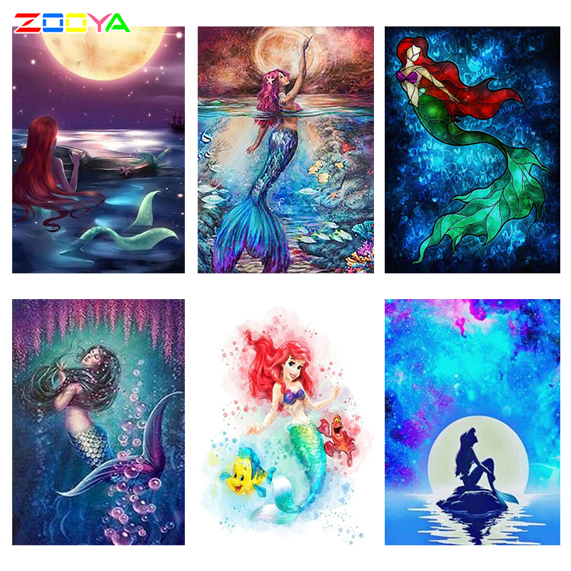 5d Diamond Painting mermaid Diamond Embroidery diy Dream mermaid starry sky galaxy Full Round drill Mosaic sale by numbers R2429(China)