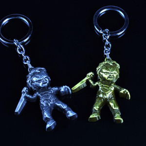 Image 4 - 10pcs/lot Fashion Jewelry Key Ring Horror Movie Seed of Chucky Keychain Figure Cosplay Pendant Key Chain Car Key Chains For Men