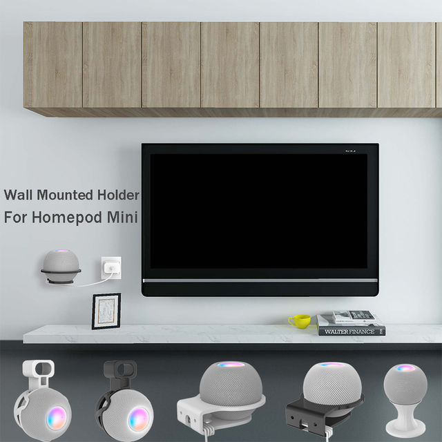Wall Mount สำหรับ Homepod Mini Outlet สายแขวนลำโพงแบบพกพาประหยัดพื้นที่สำหรับ Homepod Mini ผู้ถืออุปกรณ์เสริม