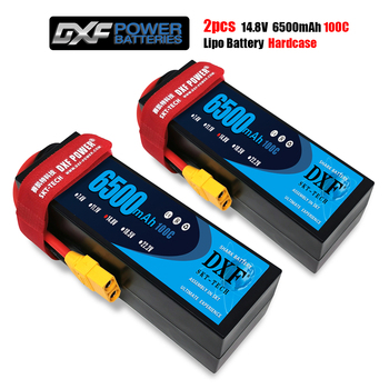 DXF lipo Battery 4S 14.8V 6500mAh 100C/200C XT60 T XT90  Plug HardCase Lipo Battery for RC HPI HSP 1/8 1/10 Buggy RC Car Truck