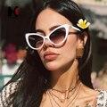 Женские винтажные солнцезащитные очки SHUAN  брендовые дизайнерские очки кошачий глаз с прозрачными линзами  UV400