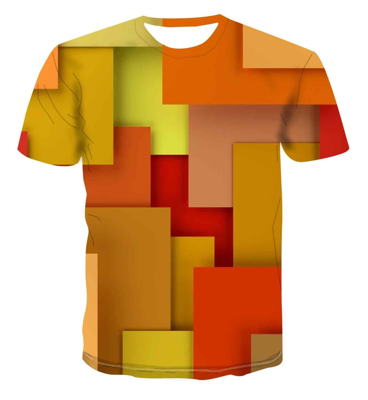 3D Pop Cetak Sederhana Fashion Tumpukan Warna-warni Geometri Desain Kreatif T-shirt Pria Street Serbaguna Unik Keren Tampan S-6xl