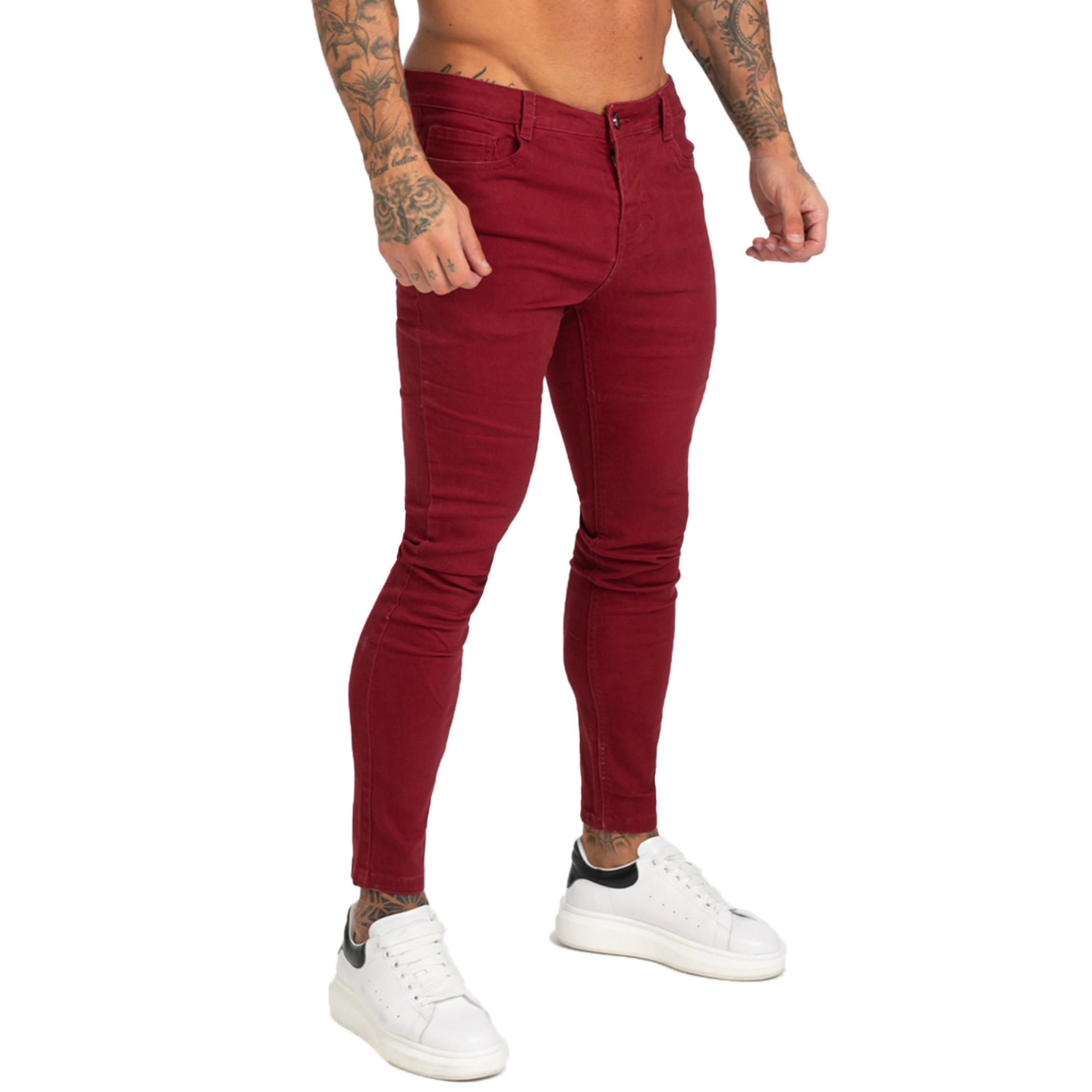 GINGTTO Jeans Men Calça Jeans Masculina Super Skinny Fit Mens Jeans Elastic Waist Bestting For Athletic Body Hip Hop Zm173
