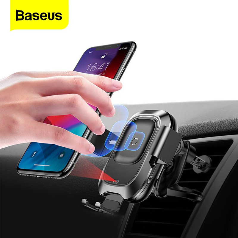 Baseus Infrared Wireless Car Charger For iPhone XS XR Samsung S9 Fast QI Wireless Charger Air Vent Mount Car Phone Holder StandCar Chargers   -