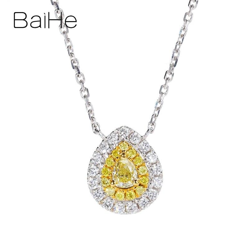 Baihe sólido 18 k ouro branco total 0.28ct h/si pêra + diamantes naturais redondos + diamantes amarelos mulheres na moda presente de casamento colares
