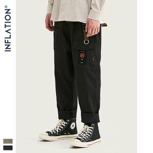 Image 1 - INFLATION Loose Straight Men Cargo Pants 2020 Autumn Streetwear Functional Pocket Men Pants Hip Hop Solid Men Casual Pant 93341W
