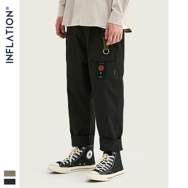 INFLATION Loose Straight Men Cargo Pants 2020 Autumn Streetwear Functional Pocket Men Pants Hip Hop Solid Men Casual Pant 93341W