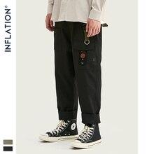 Inflacja luźne proste męskie spodnie bojówki 2020 jesień Streetwear funkcjonalne kieszonkowe męskie spodnie Hip Hop solidne męskie swobodne spodnie 93341W