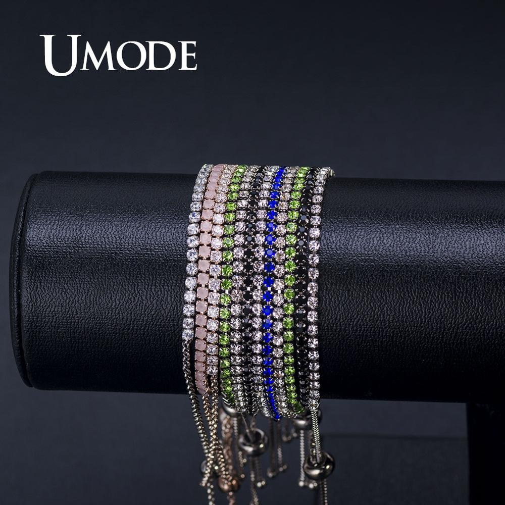 Купить с кэшбэком UMODE CZ Crystal Zircon Tennis Bracelets for Women Rose / White Gold Bracelet Zircon Box Chain Jewelry Pulseras Mujer AUB0124