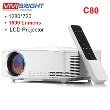 Original VIVIBRIGHT C80 LCD Home Theater Projector 1500Lumen 1280*720P With Spea