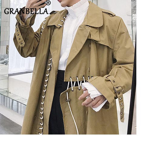 2019 New Arrival Splicing Tie and Long   Trench   Coat Design Solid Color Khaki Turn-Down Collar Harajuku style