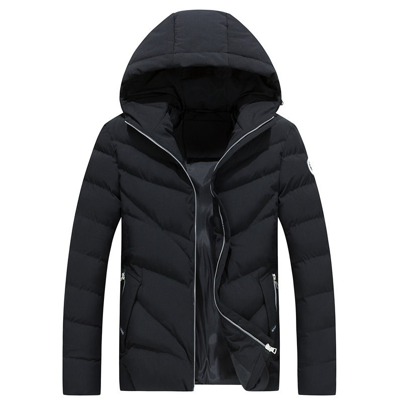 Solid Jacket Men Long Sleeve Autumn And Winter Warm Hooded Coat Fit Slim Vintage Parkas Men Minimalism Jackets Plus Sze