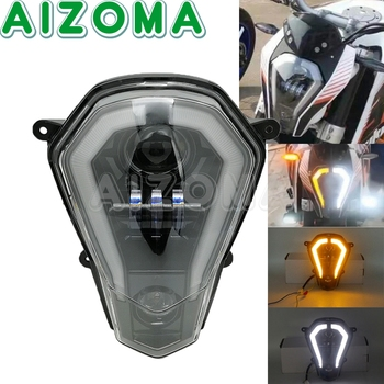Motorcycle Black LED Headlight Hi/Low Beam Halo Ring DRL For KTM Duke 125 200 250 390 2011-2016 Motocross Headlamp Assembly image