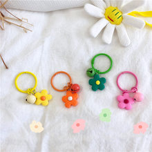 Handmade Cute Colorful Candy Flowers Keychain Headphone Cover Keyring Cartoon Charm Bag Pendants Clay Car Key Chains Girl Gift(China)