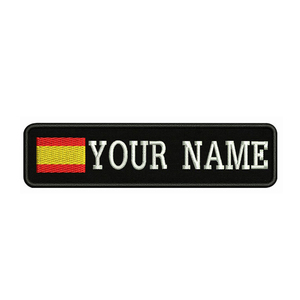Spain Flag Embroidery Custom Name Text Patch Stripes badge Iron On Or Sew On Or Velcro Backing Patches For Clothes Backpack Hat(China)