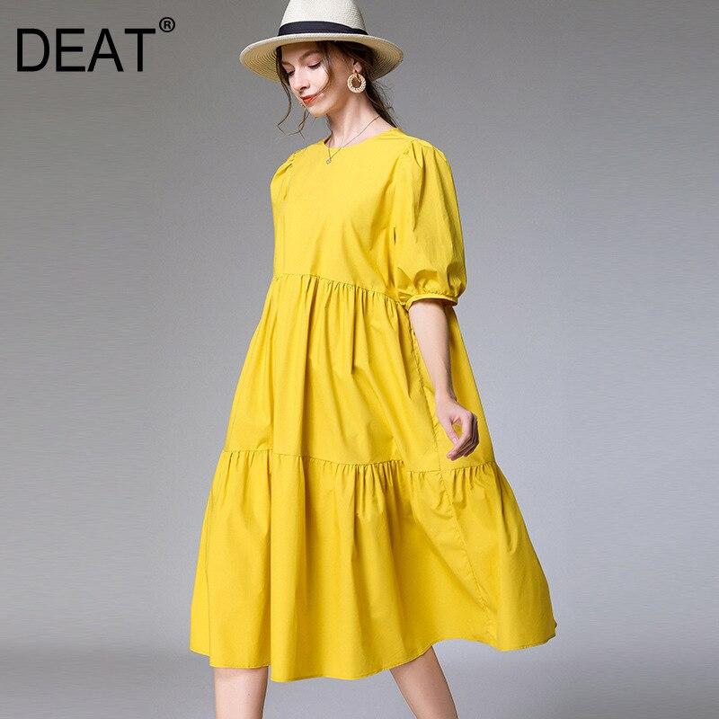 DEAT 2021 yeni moda büyük boy XL-4XL elbise kadınlar büyük boy kısa kollu katı vahşi yuvarlak yaka ince basit eğlence AP646